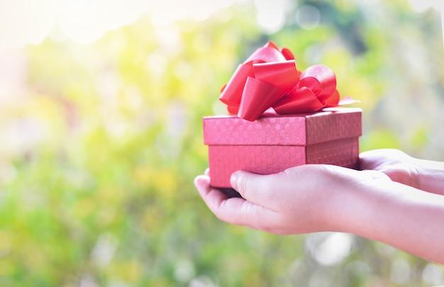 La donna che tiene la scatola attuale rossa in mani per dà il concetto del giorno di biglietti di s. valentino di amore - dare i contenitori di regalo con il nastro sul fondo della natura