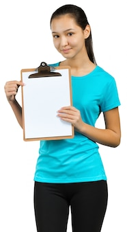 La donna con la mano mostra con segno in bianco