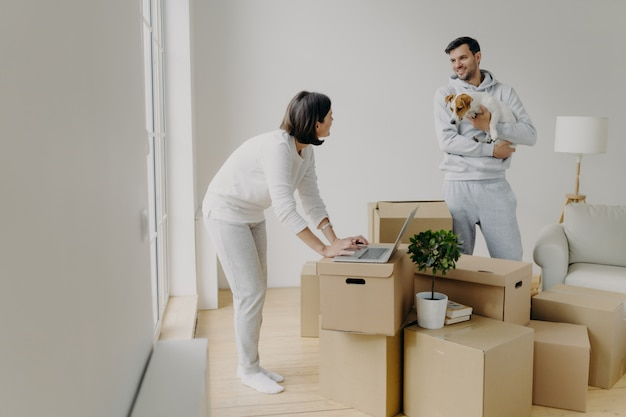 La donna impegnata cerca di trovare informazioni nel computer portatile, acquista mobili online, l'uomo sta con il cane