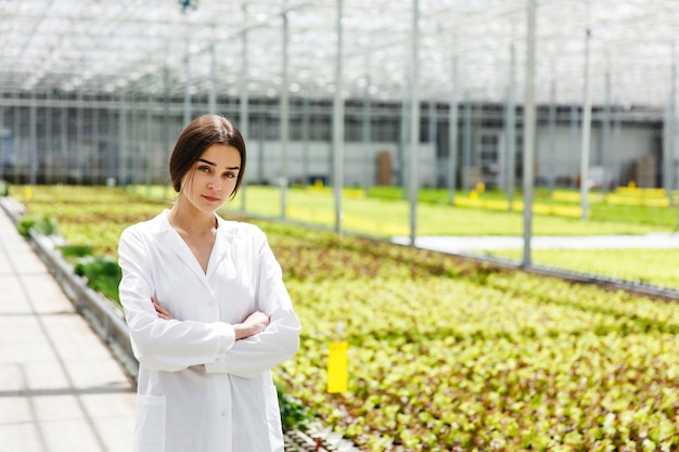 La donna in abito bianco del laboratorio sta prima delle piante nella serra
