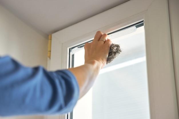La donna pulisce la vecchia sporcizia dal vetro usando il tampone abrasivo