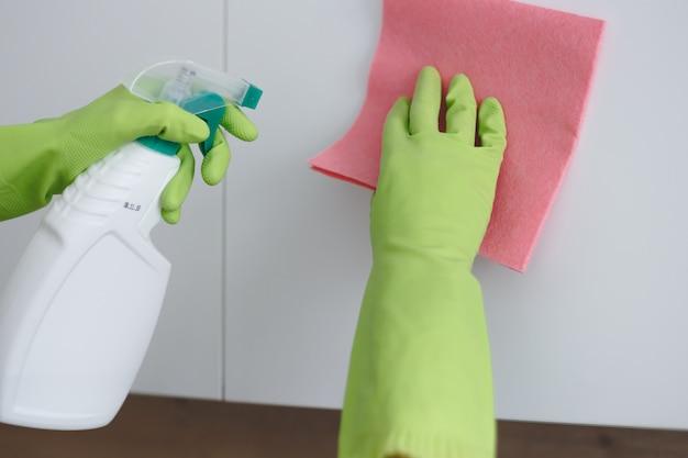 La donna sta pulendo la porta dell'armadio da cucina con straccio e detergente spray in cucina.