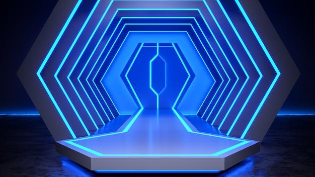La fase di esagono con blackground della luce al neon e il pavimento di calcestruzzo, la luce blu, 3d rendono