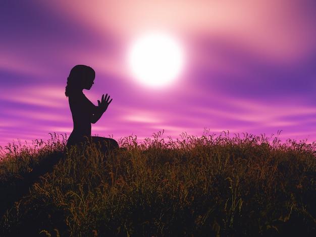 La femmina 3d nella posa di yoga contro il paesaggio del tramonto