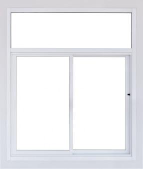 La finestra in bianco moderna del pvc isolata con il muro di cemento in bianco, il grande riquadro di plastica vuoto reale dell'ufficio vede attraverso la vista