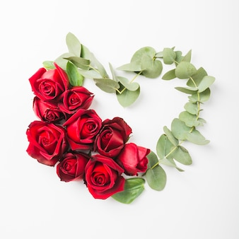 La forma del cuore fatta con le rose fiorisce e ramoscello su fondo bianco