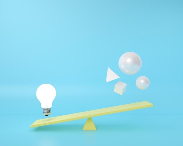La forma della geometria è su una tavola di equilibrio con la lampadina che galleggia su un blu.