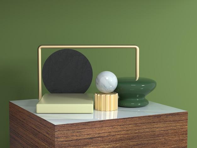 La forma geometrica dell'estratto del podio del quadrato di struttura di legno 3d rende