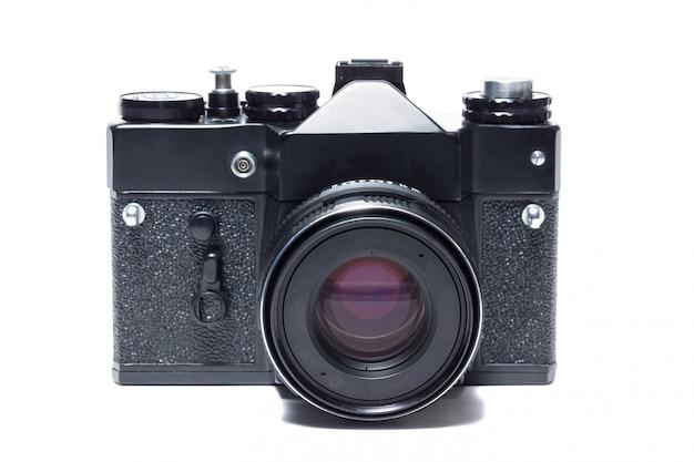La fotocamera su sfondo bianco