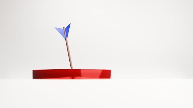 La freccia è esattamente sul bersaglio, rendering 3d