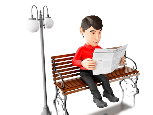 La gente 3d che legge su un banco di legno.