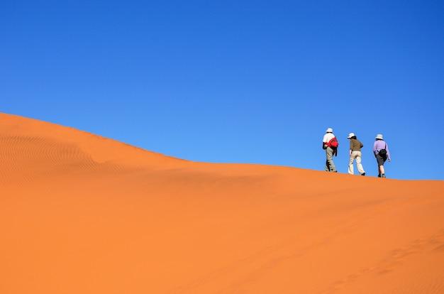 La gente che cammina sulla bellissima duna del deserto del namib, viaggiando e facendo escursioni in sudafrica