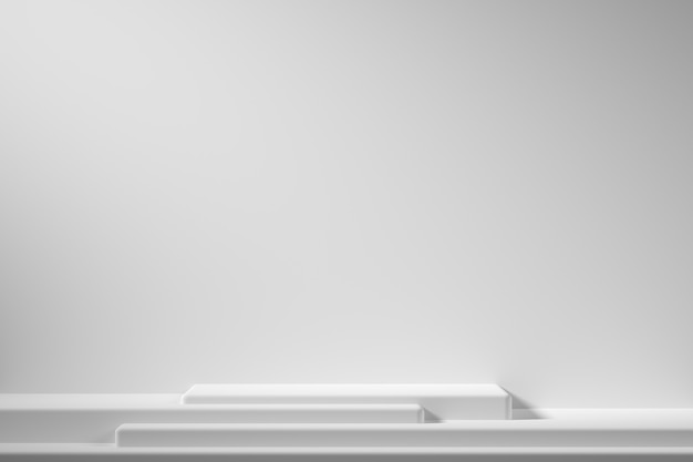 La geometria astratta forma il podio di colore bianco su fondo bianco con il riflettore per il prodotto. concetto minimale. rendering 3d