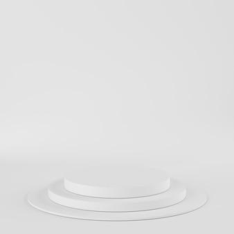 La geometria astratta forma il podio di colore bianco su fondo bianco per il prodotto. concetto minimale. rendering 3d