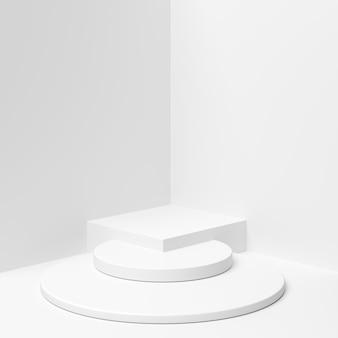 La geometria astratta forma il podio di colore bianco su fondo bianco per il prodotto.