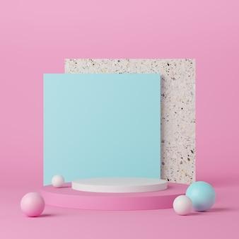 La geometria astratta forma il podio di colore bianco su fondo rosa con la palla blu e bianca per il prodotto. concetto minimale. rendering 3d