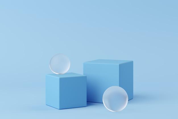 La geometria astratta forma il podio di colore blu con vetro glassato su fondo blu per il prodotto. concetto minimale. rendering 3d