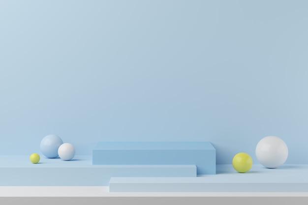 La geometria astratta forma il podio di colore blu su fondo blu con palla colorata per prodotto. concetto minimale. rendering 3d