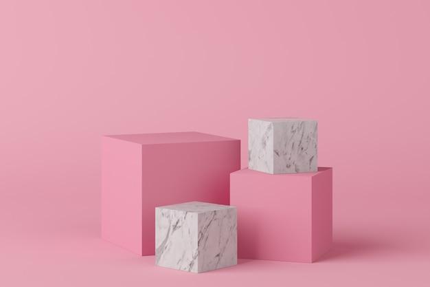 La geometria astratta forma il podio di colore rosa con marmo su fondo rosa per prodotto. concetto minimale. rendering 3d
