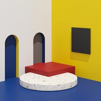 La geometria astratta modella il podio variopinto con terrazzo su fondo bianco per il prodotto.