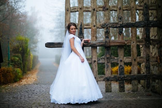 La giovane bella sposa dolce alla moda elegante in vestito da sposa stupefacente sta sul vecchio palazzo