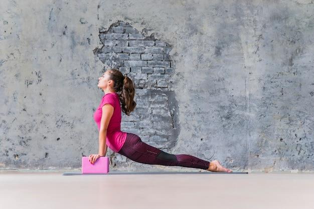 La giovane donna in buona salute che esercita la forma fisica spinge aumenta usando i blocchi