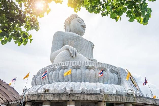 La grande statua del buddha è stata costruita su un'alta collina di phuket in tailandia. può essere vista dall'albero di bodhi