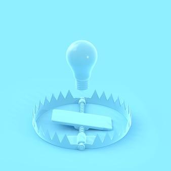 La lampadina galleggiava sulla trappola blu pastello