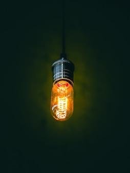 La lampadina si è accesa su un fondo nero, fuoco molle