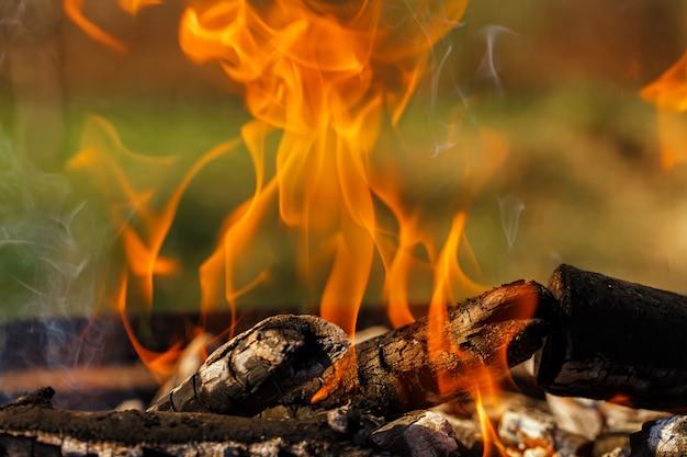 La legna da ardere sulla griglia brucia fuoco brillante