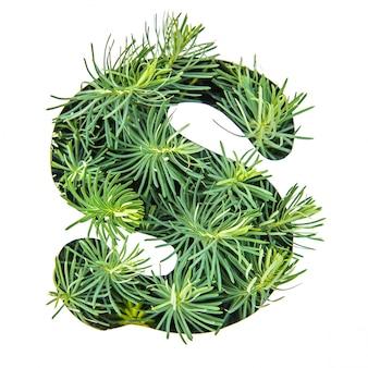 La lettera s dell'alfabeto inglese da erba verde