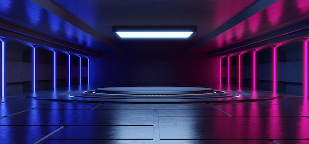 La luce al neon blu e rosa astratta modella su fondo nero per l'immissione dei prodotti con fondo concreto.