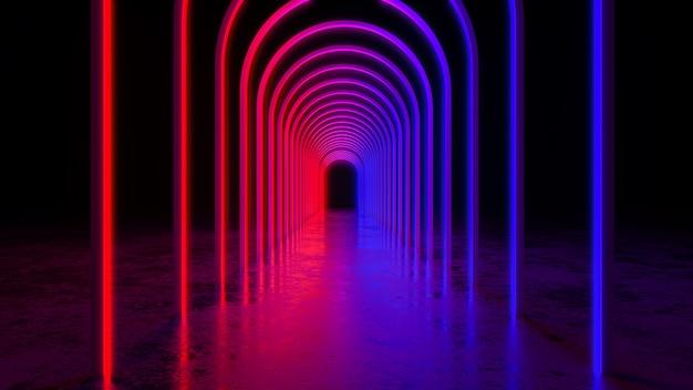 La luce al neon futuristica moderna del cercle, con blackground e il pavimento di calcestruzzo, l'ultravioletto, 3d rende
