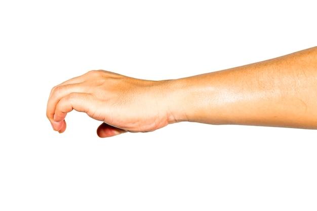 La mano che sta facendo gesti sta raccogliendo le cose.