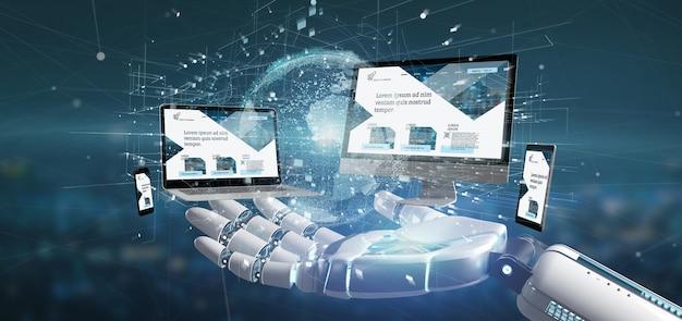 La mano del cyborg che tiene un dispositivo si è collegata ad una rappresentazione globale della rete aziendale 3d