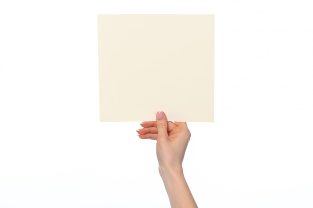 La mano della donna che mostra l'insegna del libro bianco isolata su bianco