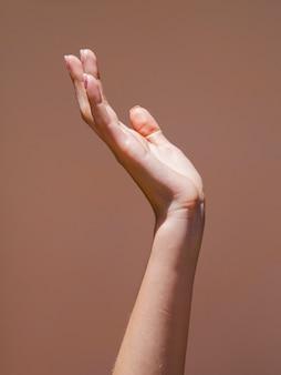 La mano della donna di sideview nella luce