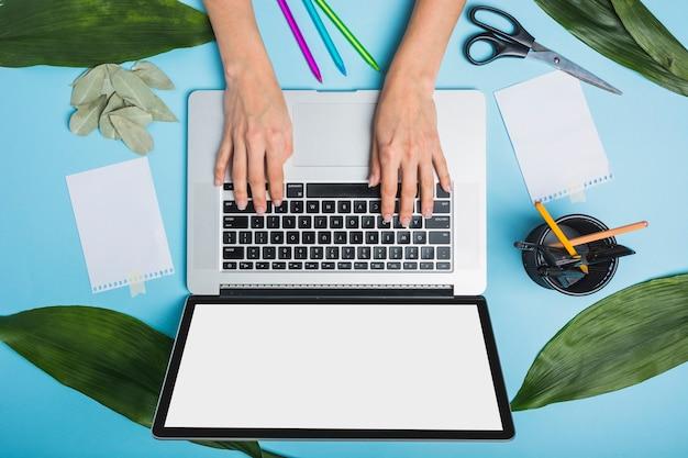 La mano della persona di affari che per mezzo del computer portatile con le foglie verdi e le cancellerie su fondo blu