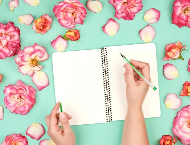 La mano femminile tiene la penna bianca sopra il foglio di carta bianco vuoto