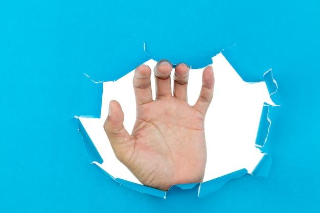 La mano maschio ha strappato la carta blu su fondo bianco