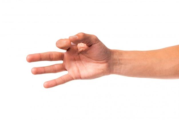 La mano maschio mostra un segno.