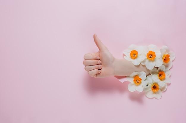 La mano mostra un gesto di approvazione con i fiori