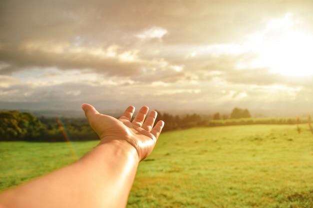 La mano mostra un paesaggio arcobaleno del cielo dell'erba di tramonto