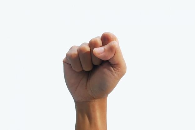 La mano si serra su bianco
