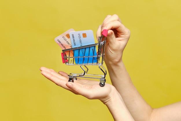 La mano tiene un carrello con carte di credito.