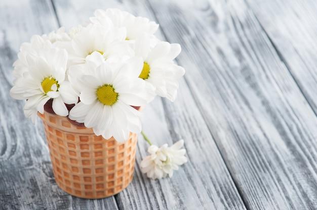 La margherita fresca fiorisce in vaso sulla tavola di legno misera