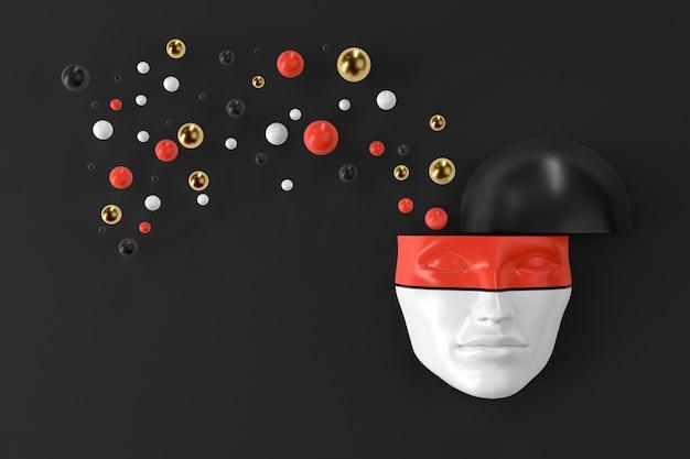 La maschera della testa di una donna sul muro con forme geometriche esplosive che volano in diverse direzioni. illustrazione 3d