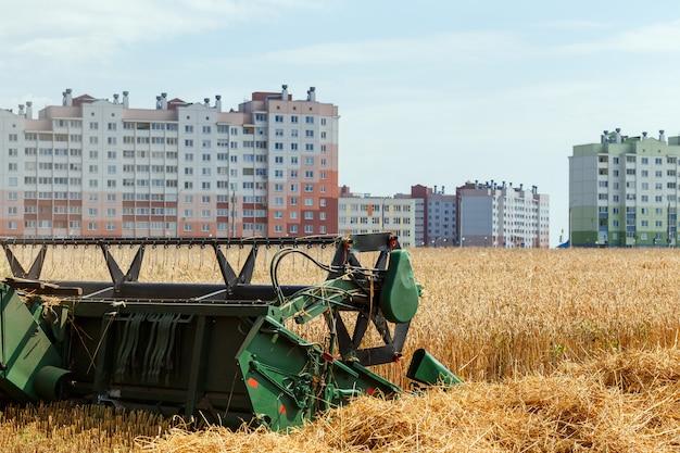 La mietitrebbia raccoglie il grano maturo nel campo di grano vicino a una zona residenziale. lavori agricoli in estate. intestazione da vicino.