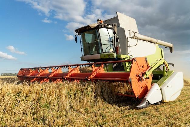 La mietitrebbia raccoglie il grano maturo