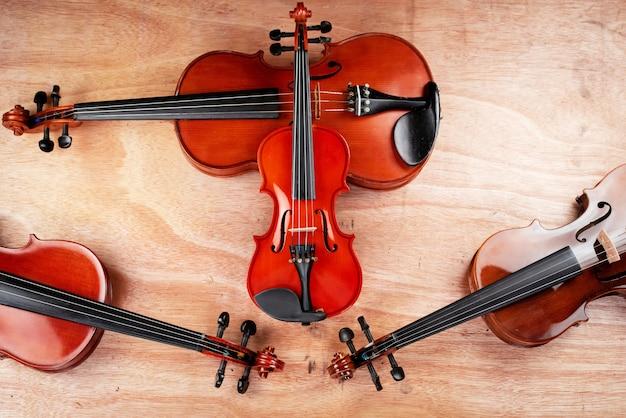 La misura più piccola del violino è quella più grande, mostra il dettaglio del violino